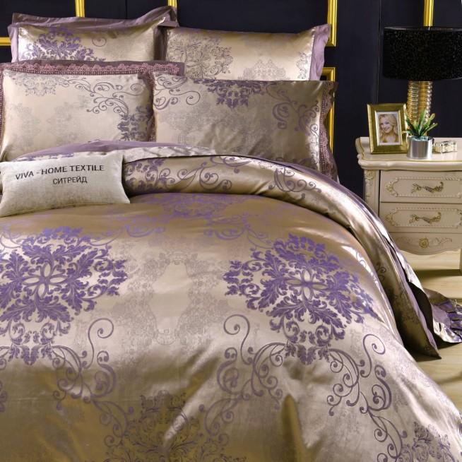 Подарочный жаккард с вышивкой белье постельное H050 Евро СИТРЕЙД